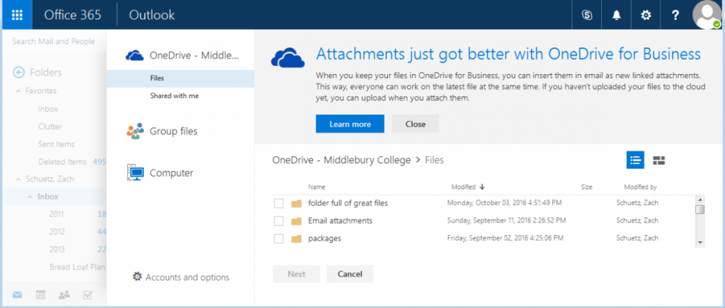Webmail will use OneDrive as the default location for attachments.