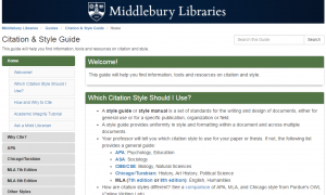 Screenshot of Citation Guide
