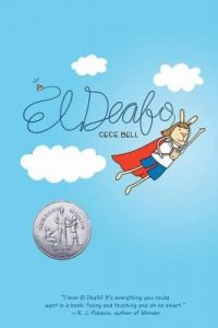 Cover art for Cece Bell's El Deafo which pictures a bunny in a superhero cape flying through the sky.