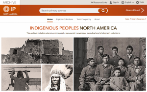 A screenshot from a digital library resource, Indigenous Peoples: North America