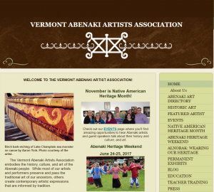 A screenshot from the Vermont Abenaki Artists' Association website