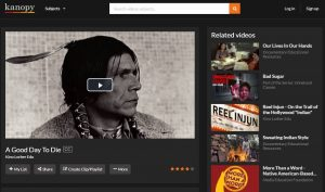 A screenshot depicting a Native American man taken from the Kanopy audiovisual streaming service for A Good Day To Die