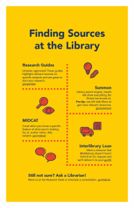 Finding sources at the library infographic