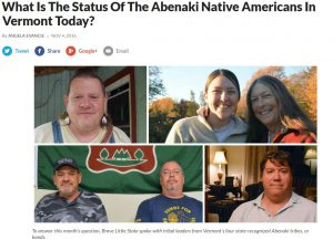 A screenshot from Vermont Public Radio's reporting on the Abenaki people with 6 people pictured