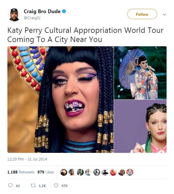 three images of Katy Perry dressed in intercultural garb