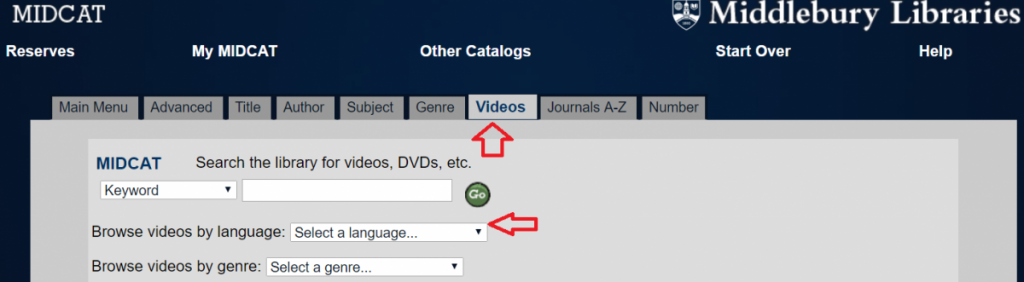 a screenshot from the go/midcat/ menu highlighting videos and languages with red arrows