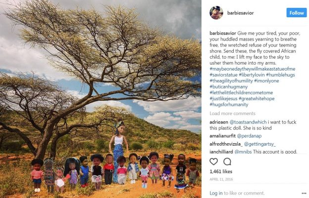 A Subsaharan backdrop with an adult white Barbie posed with and surrounded by black African children