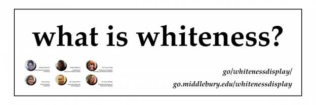 "A banner with black lettering and white background labeled ""what is whiteness?"" and six headshots of the authors"