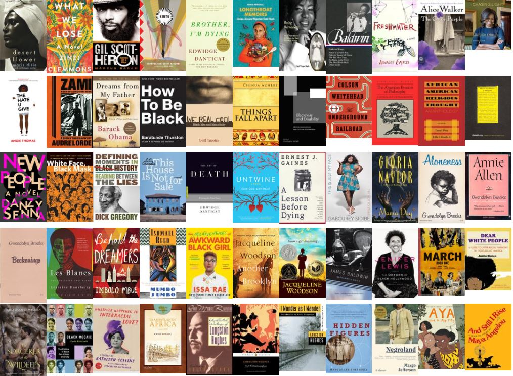 a collage of 55 artistic book covers from the Black History Month Display