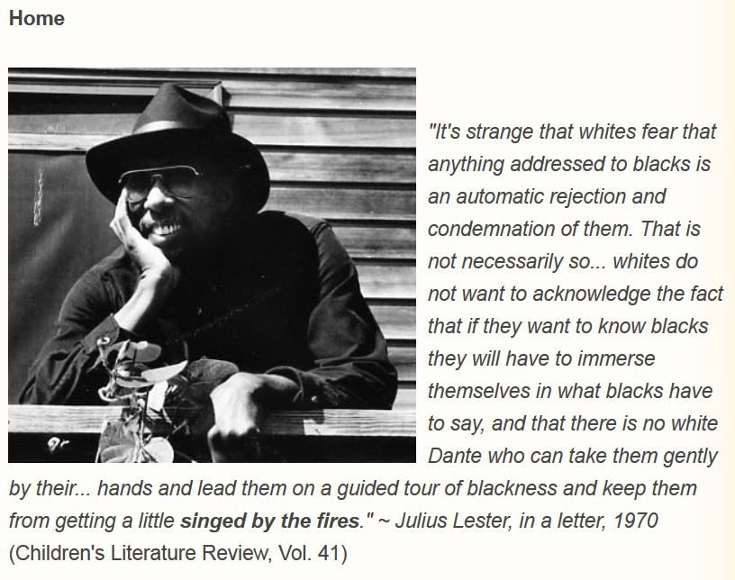 A screenshot featuring an image of late author Julius Lester (1939-2018).
