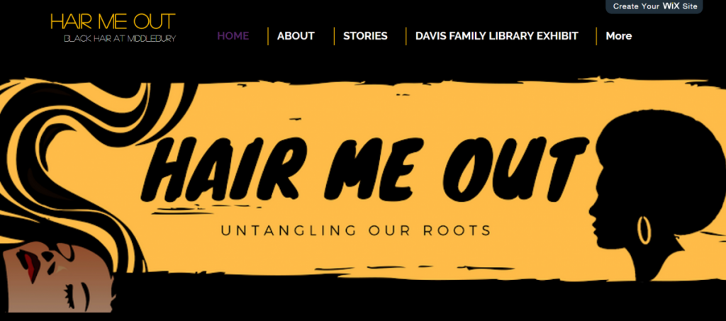 "a horizontal banner reading ""HAIR ME OUT"""