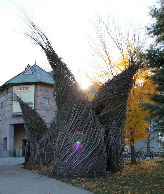 Last sunrise over Patrick Dougherty's So Inclined
