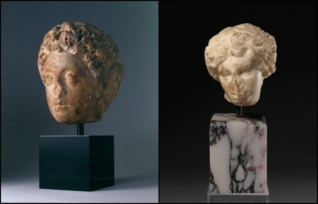 Portrait of Commodus as Crown Prince; Head of a Wounded Amazon