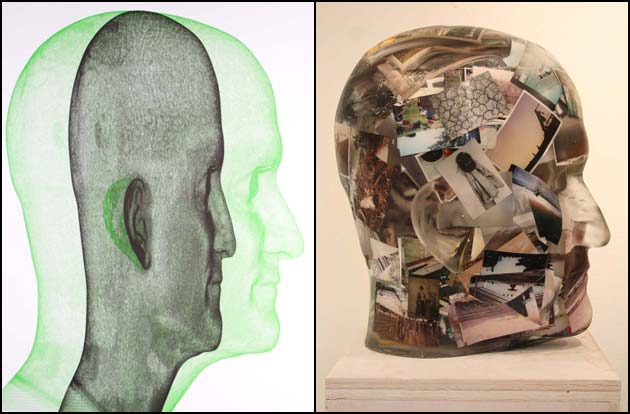 Richard Dupont, Untitled (green, black heads) and Correspondence Head