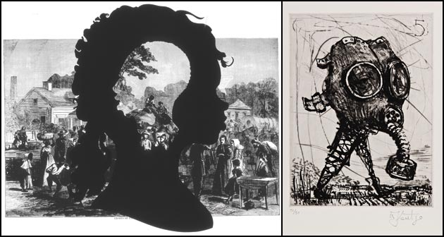 Kara Walker, Exodus of Confederates from Atlanta; William Kentridge, #5 (Mal d'Afrika)