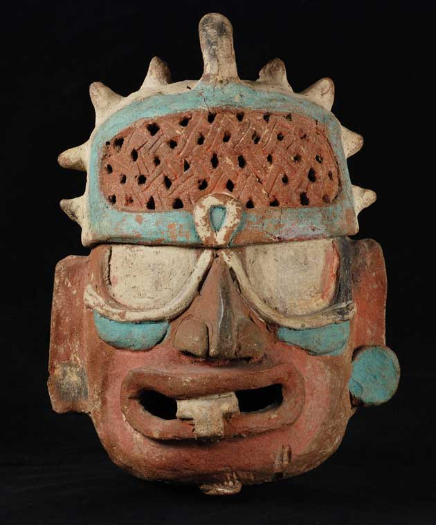 Incense Burner and Lid in the Form of a Deity Head, Aintun Cave System, Sepacuite Valley, Guatemala
