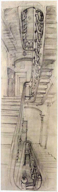 Rackstraw Downes, Stairway in Building E, Snug Harbor