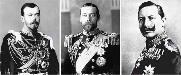 From left to right: Tsar Nicholas II, King George V of Britain, and Kaiser Wilhelm II of Germany
