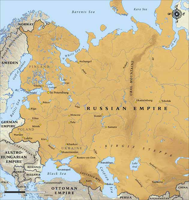 Map of the Russian Empire in 1900