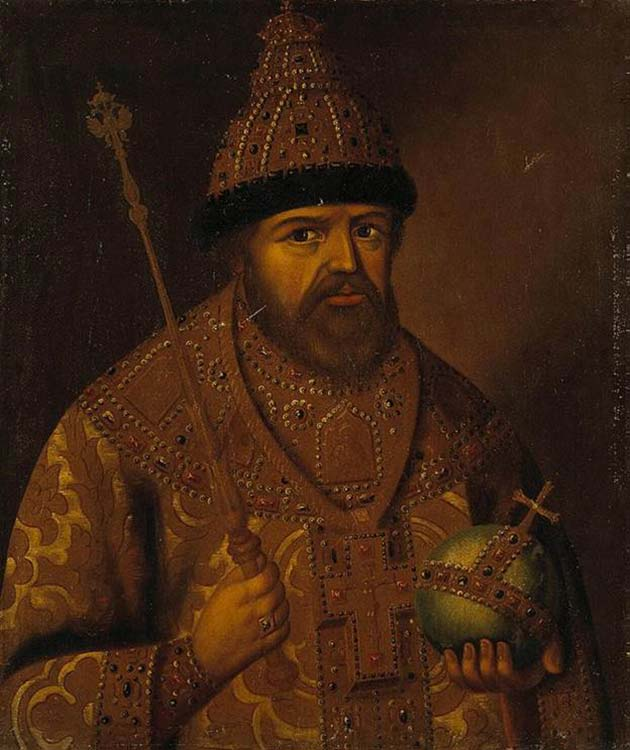 Portrait of Tsar Aleksei with scepter and globus cruciger
