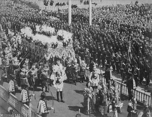 Tsar under the canopy after the coronation
