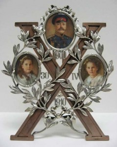 Picture frame celebrating the tenth wedding anniversary of Grand Duke Georgii Mikhailovich and Grand Duchess Maria Georgievna