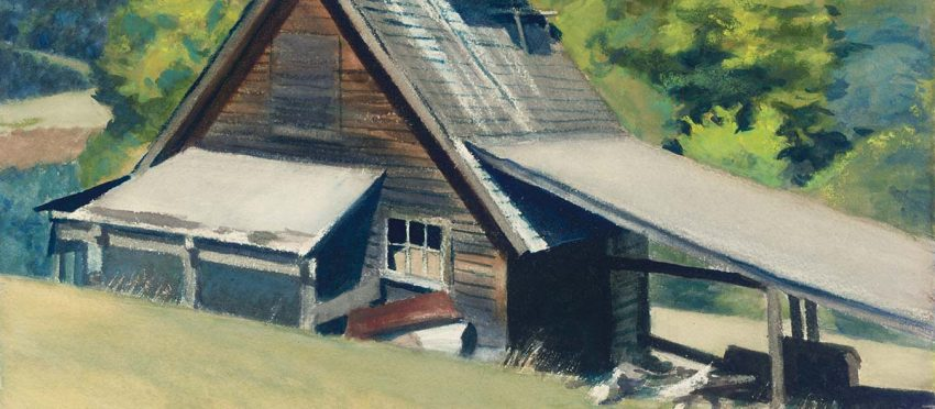 detail of Edward Hopper's Vermont Sugar House watercolor