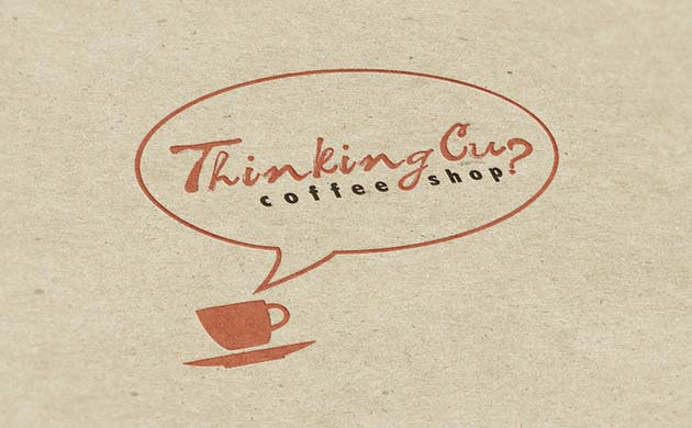 Kiera Hoefle, logo design for Thinking Cup Coffee Shop.
