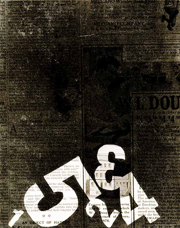 Kiera Hoefle, When Numbers Read 15, 2010, oil based monotype on Newspaper, 7.5 x 6 inches.