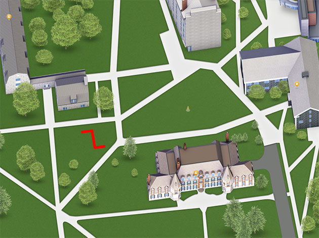 Youbie Obie's location shown on the campus map