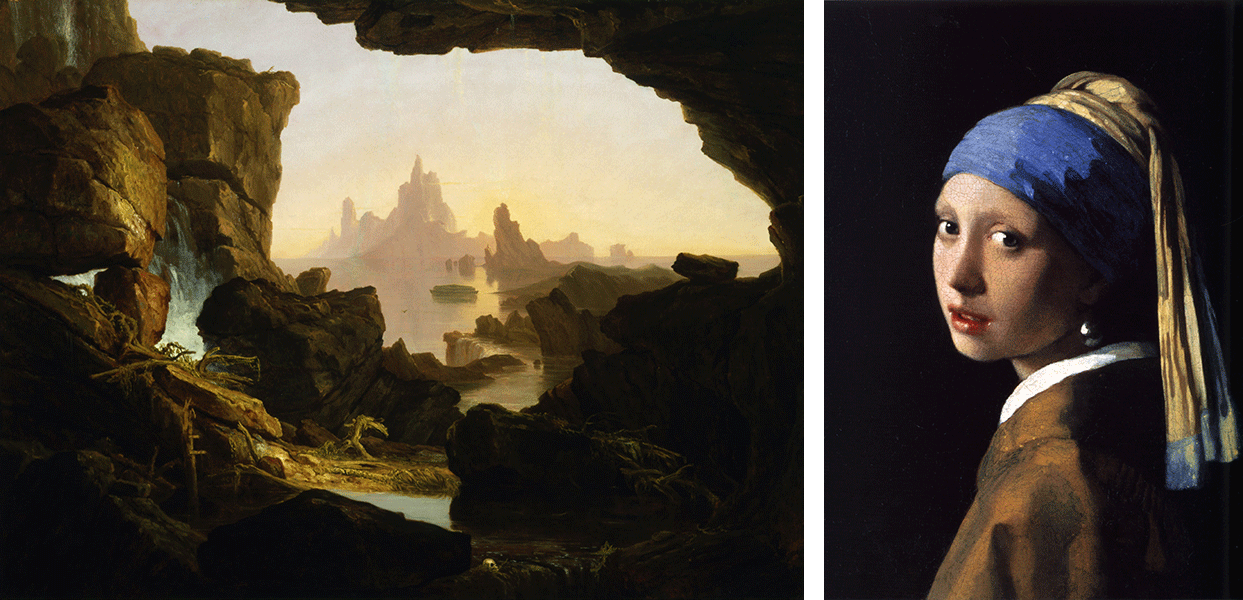 Left, Thomas Cole, The Subsiding of the Waters of the Deluge, Right, Johannes Vermeer, Girl with a Pearl Earring