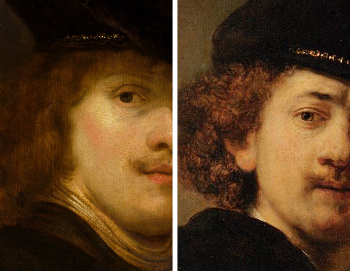 Flinck, Portrait of a Man, detail of face, Rembrandt, Self-Portrait in Cap, detail of face