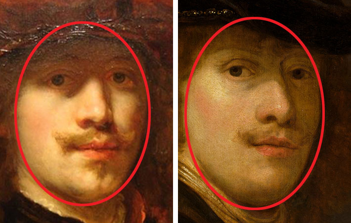 Flinck, Self-Portrait with Beret, detail of face, Flinck, Portrait of a Man, detail of face