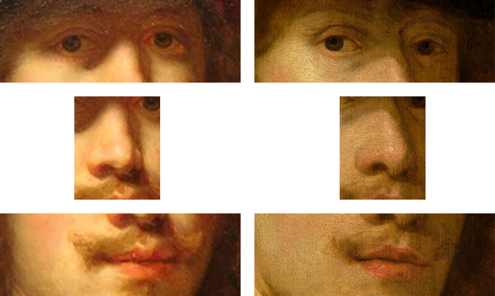 Flinck, Self-Portrait with Beret, details of eyes, nose, and mouth, Flinck, Portrait of a Man, details of eyes, nose, and mouth