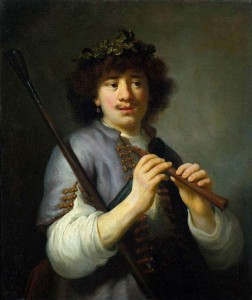 Govaert Flinck, Rembrandt as Shepherd with Staff and Flute