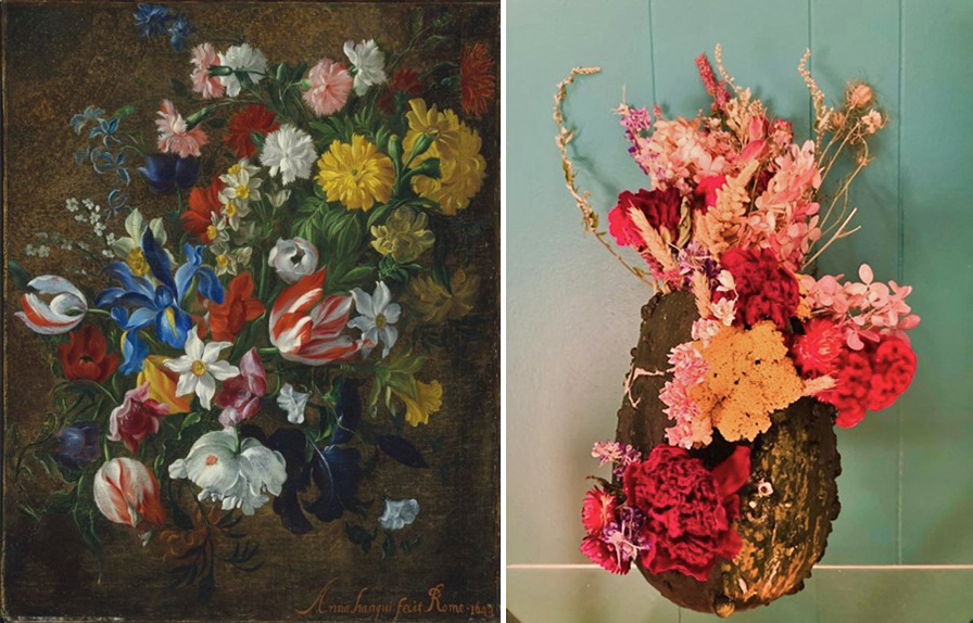 A side-by-side comparison of a still life of tulips, iris, hyacinths, and other flowers on the left, and a pumpkin with similar flowers arranged in it on the right