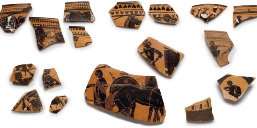 A collection of ancient Greek pottery sherds from the collection of the Middlebury College Museum of Art
