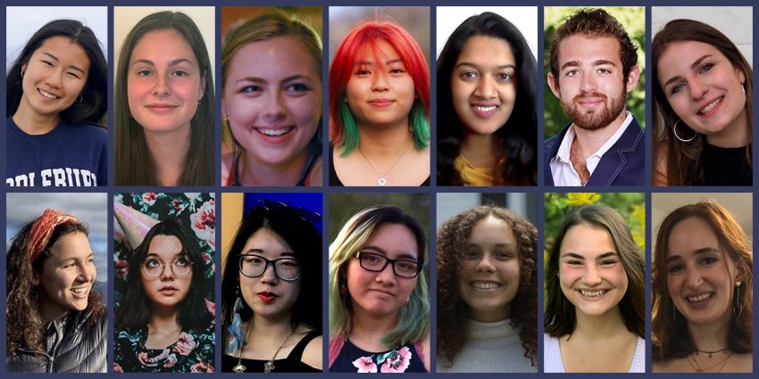 a collection of thumbnail portraits of the 14 students who participated in the 2021 MuseumWorks program, arranged in a grid with two rows of seven portraits each