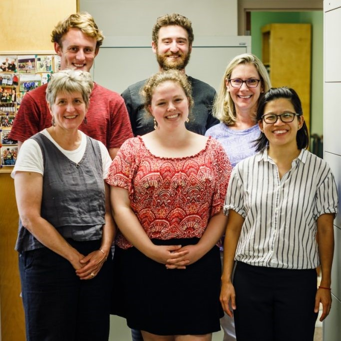 Five staff members and one student intern pose at Open Door Clinic