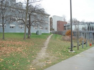 Dirt path behind Allen Hall