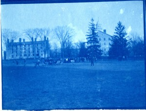 A football game in 1900. Note the large elms along the west side of Painter Hall.