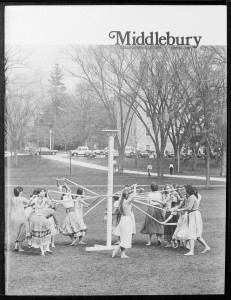 The Spring issue of the Middlebury newsletter in 1981. Those are elm trees lining Mead Chapel walkway behind the May pole (which Facilities still has stored somewhere!)