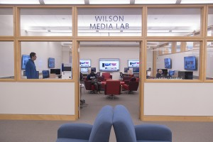 Wilson Media Lab in the Davis Family Library. Renovated in the summer of 2015.