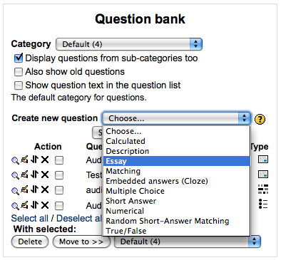 binary-choice essay multiple choice short-answer Main page managing a moodle course questions short-answer question type multiple choice short-answer (see step 4 in multiple choice question type.