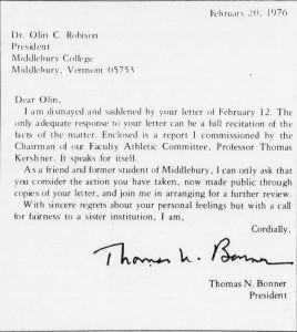 1976 - Union Bonner to Robinson Letter