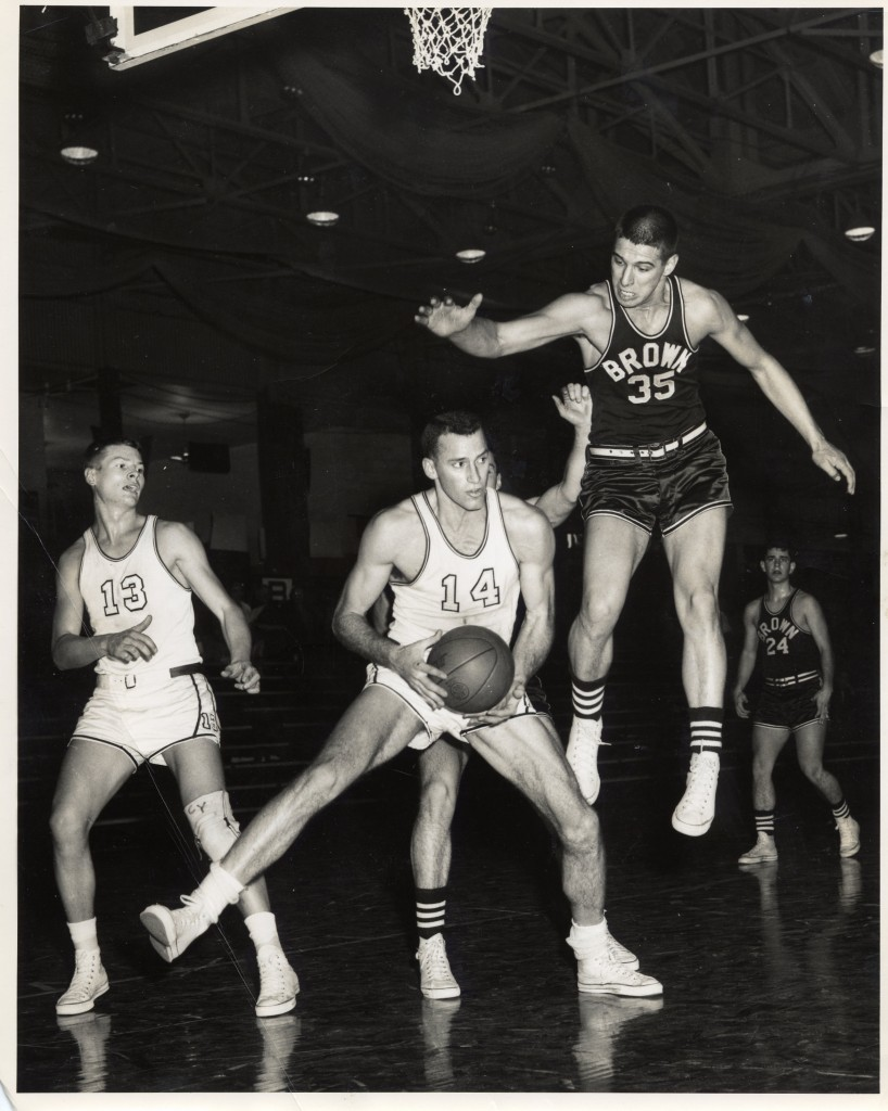 Tom Hart (center) led the NCAA in rebounding in 1956 with 28.6 per game, a mark that has never been matched. Right, is Gerry Alaimo, a Brown graduate and future Middlebury coach.