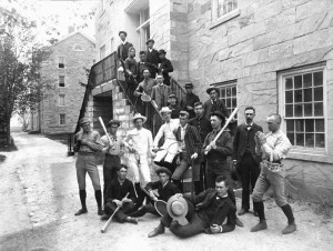Middlebury Students outside Old Chapel circa 1890
