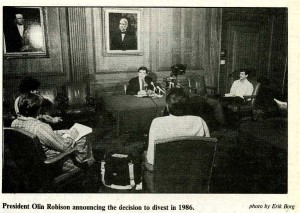The Board of Trustees voted to divest from all American companies with holdings in South Africa on July 28, 1986. The decision was announced after faculty reconvened on campus on September 2.