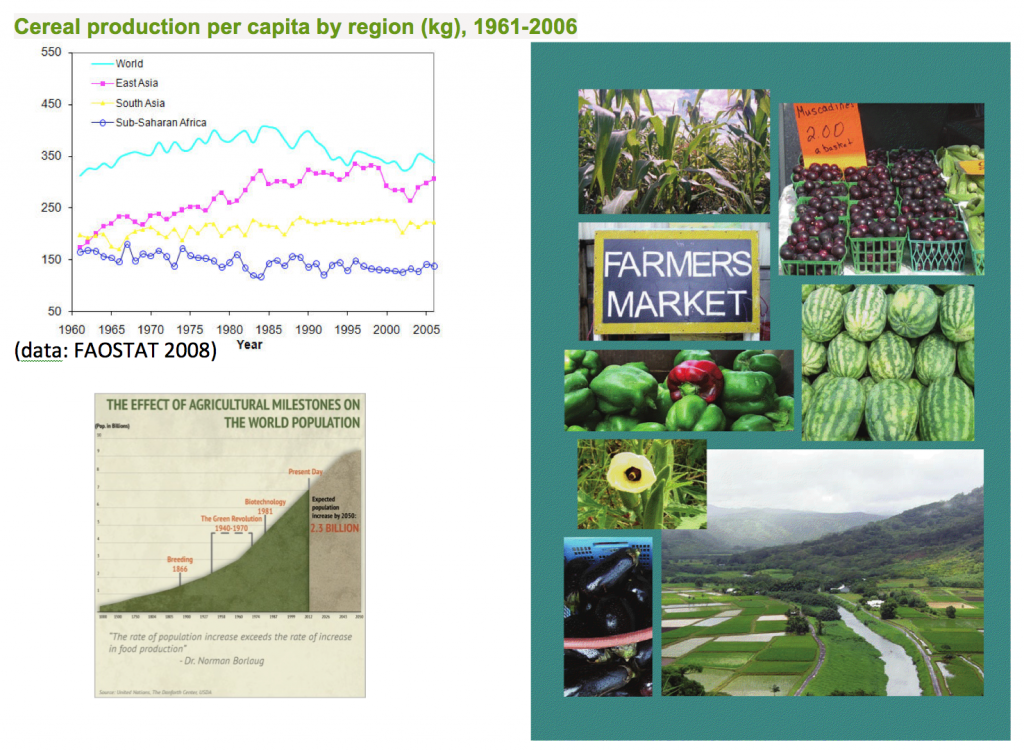 Cereal Production Per Capita by Region (kg), 1961-2006