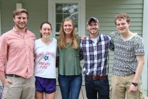 5 of the summer 2016 Addison County interns pose for a picture in front of 118 South Main Street, a building on Middlebury's campus that formerly housed the Community Engagement office.
